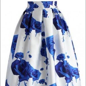Chic Wish Blue Rose Midi Skirt